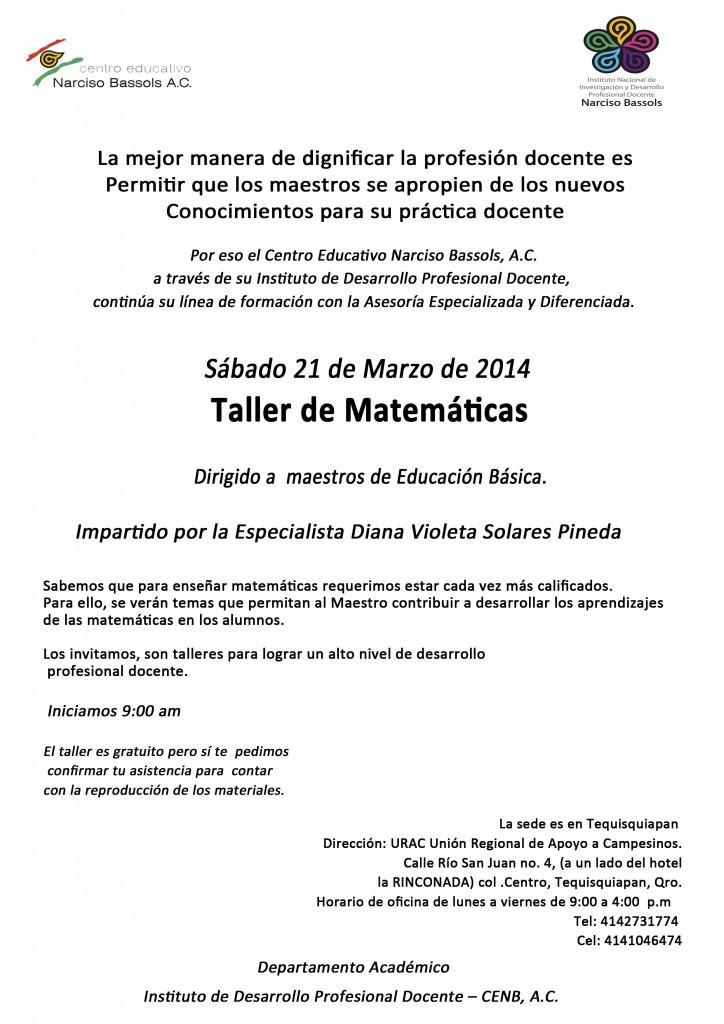 Taller sabatino de Matemáticas
